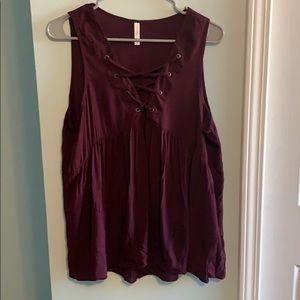 Xhilaration loose maroon sleeveless top